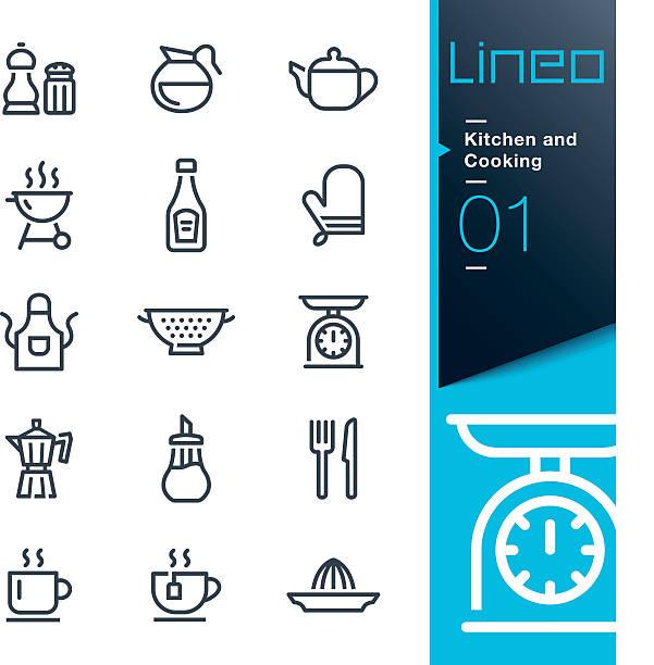 Lineo-cucina e cucina icone di linea - illustrazione arte vettoriale