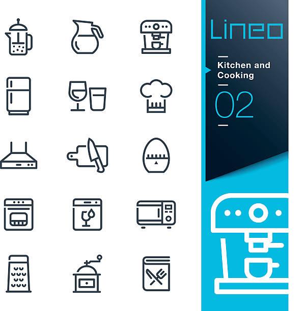 lineo-küche und kochen linie symbole - hauswirtschaft stock-grafiken, -clipart, -cartoons und -symbole
