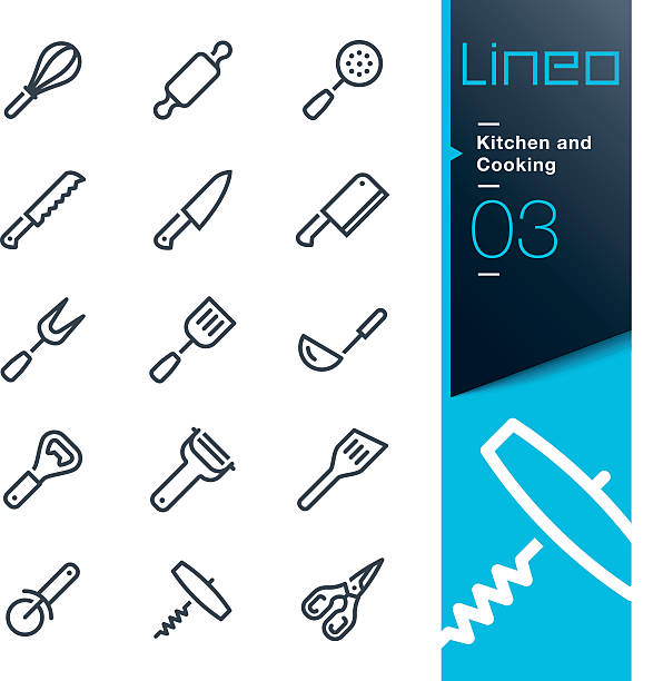 stockillustraties, clipart, cartoons en iconen met lineo - kitchen and cooking line icons - ballonklopper