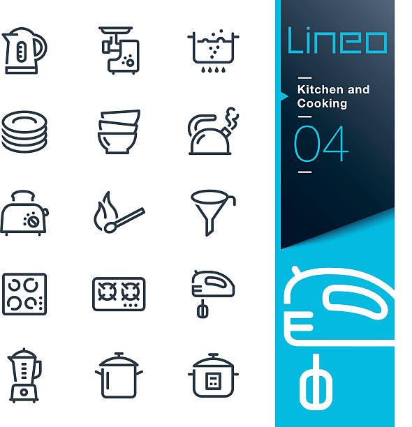 lineo-küche und kochen linie symbole - küchenmixer stock-grafiken, -clipart, -cartoons und -symbole
