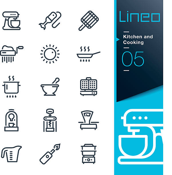 Lineo - Kitchen and Cooking line icons Vector illustration, Each icon is easy to colorize and can be used at any size.  frying pan stock illustrations