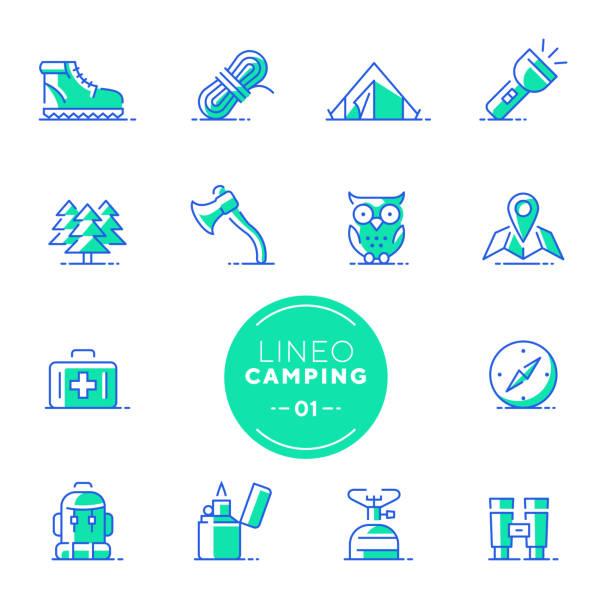 lineo kalk - camping und outdoor linie symbole (editierbare hub) - feuerzeuggas stock-grafiken, -clipart, -cartoons und -symbole