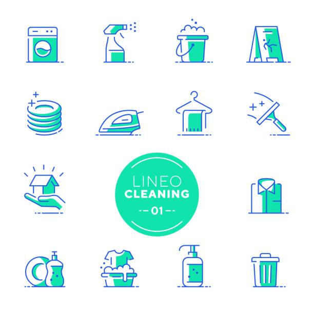 ilustrações de stock, clip art, desenhos animados e ícones de lineo lime - cleaning and housework line icons (editable stroke) - loiça