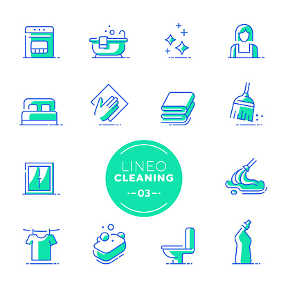 Lineo Lime - Cleaning and Housework line icons (editable stroke)