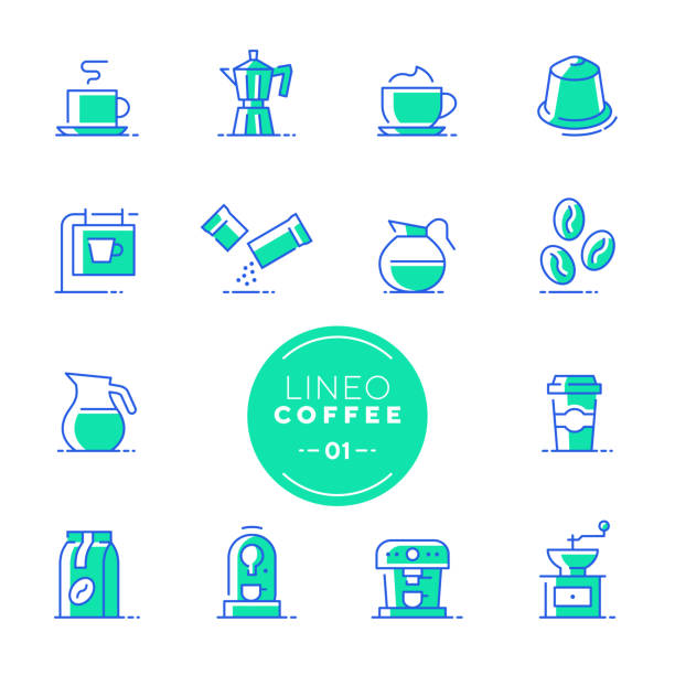 Lineo Lime - Coffee line icons (editable stroke) Vector icons - Adjust stroke weight - Expand to any size - Change to any color espresso stock illustrations