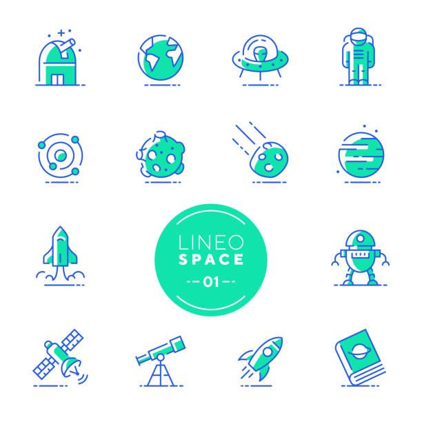 lineo kalk - raum und planeten linie symbole (editierbare hub) - sternwarte stock-grafiken, -clipart, -cartoons und -symbole