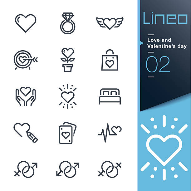 lineo - love and valentine's day line icons - animal limb stock illustrations