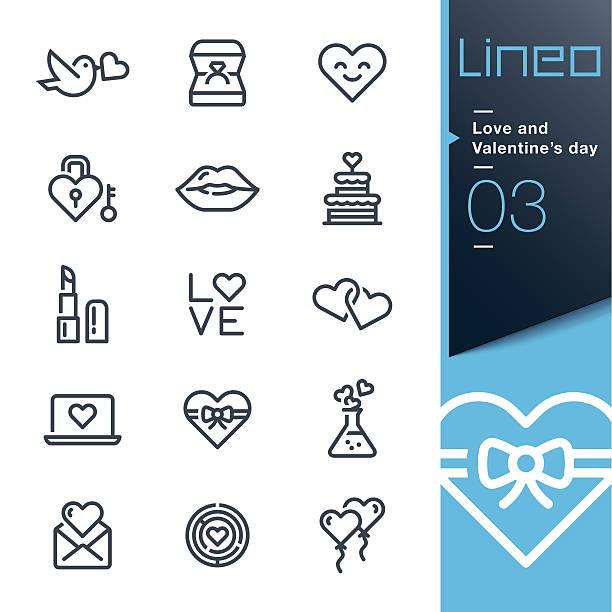 stockillustraties, clipart, cartoons en iconen met lineo - love and valentine's day line icons - kiss