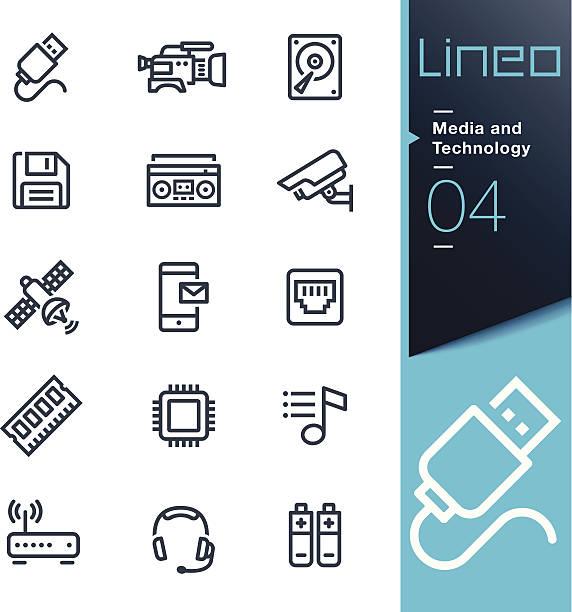 ilustrações de stock, clip art, desenhos animados e ícones de lineo-meios de comunicação e tecnologia contorno dos ícones - video call