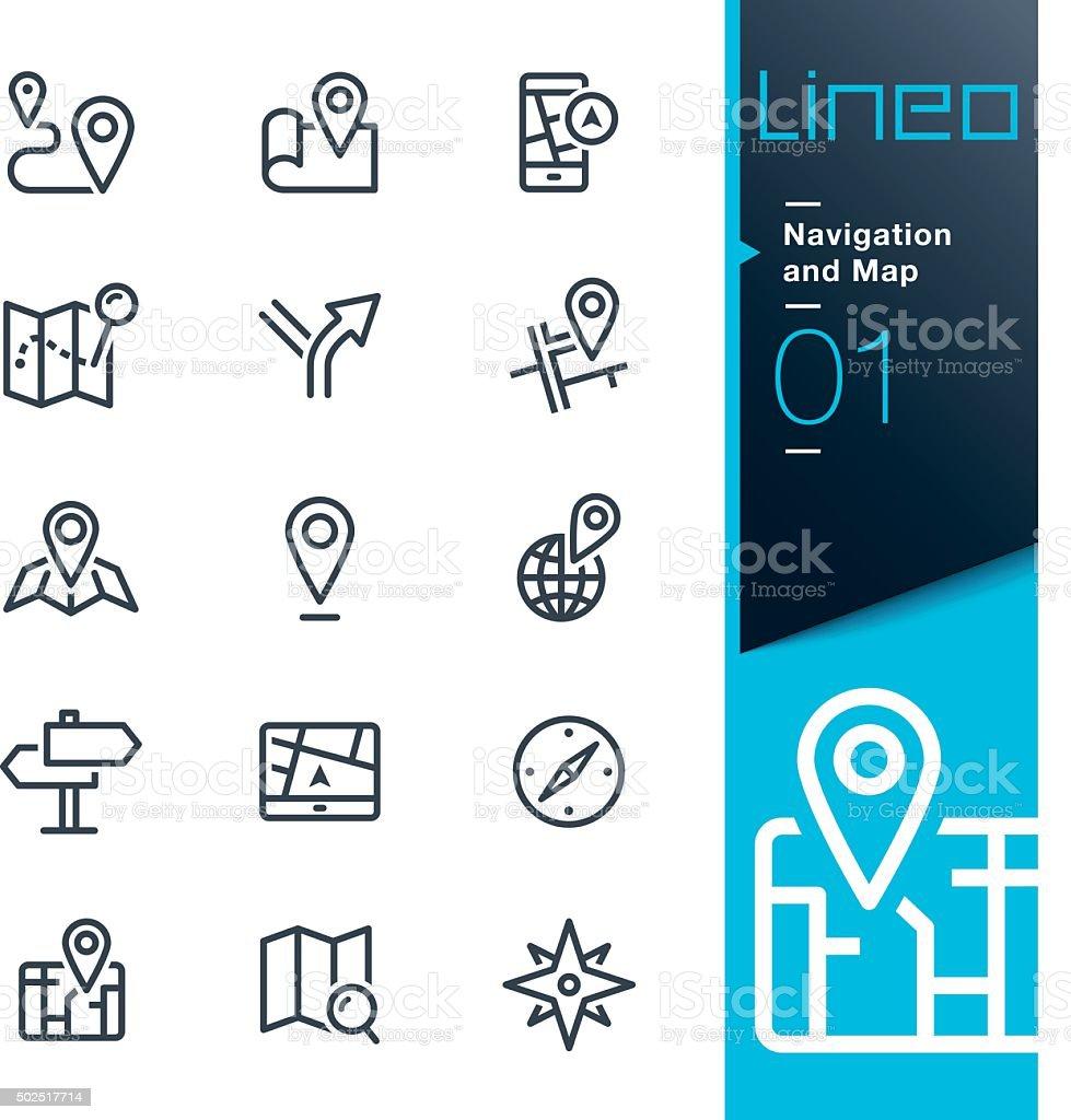 Lineo-ligne icônes de Navigation et de cartes - Illustration vectorielle