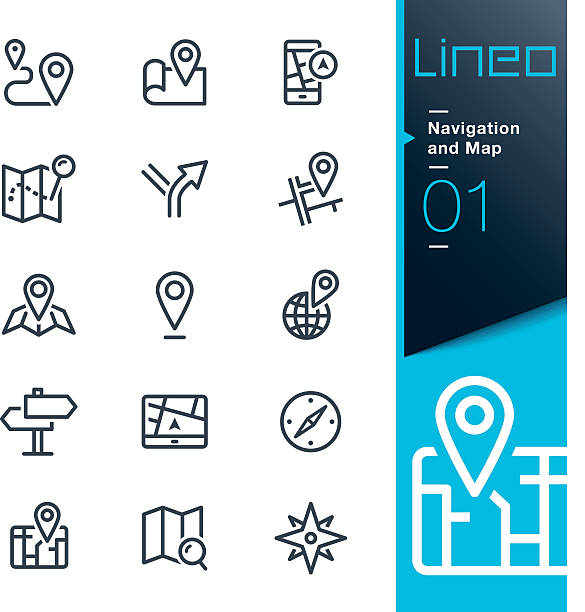 stockillustraties, clipart, cartoons en iconen met lineo - navigation and map line icons - guide