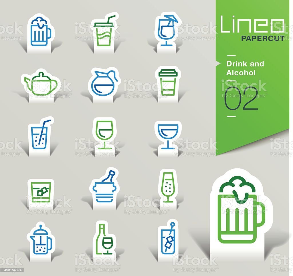 Lineo Papercut - Drink and Alcohol outline icons vector art illustration