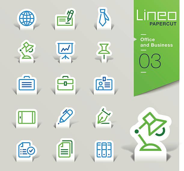 lineo papercut-büro und geschäft-icons-silhouette - laptoptaschen stock-grafiken, -clipart, -cartoons und -symbole