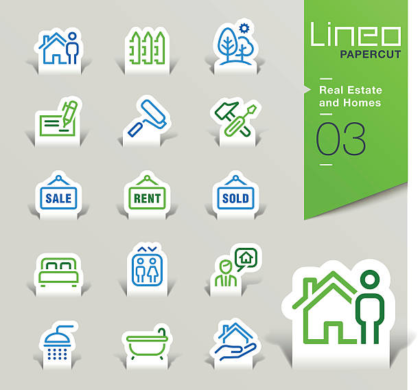 lineo papercut-immobilien und häuser kontur icons - bodenbetten stock-grafiken, -clipart, -cartoons und -symbole