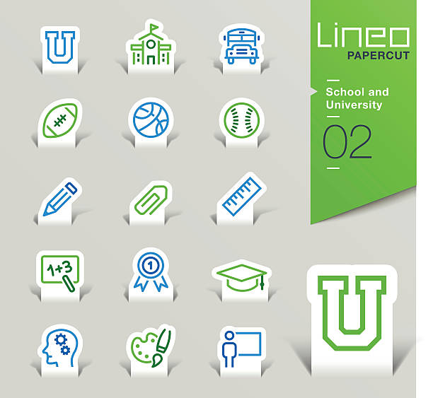 lineo papercut - school and university outline icons - high school sports stock illustrations
