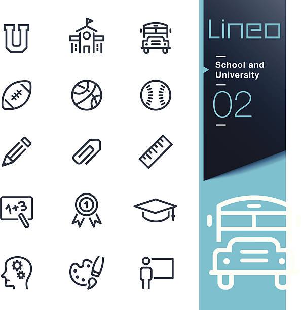lineo-school und die universität kontur icons - fußballkunst stock-grafiken, -clipart, -cartoons und -symbole