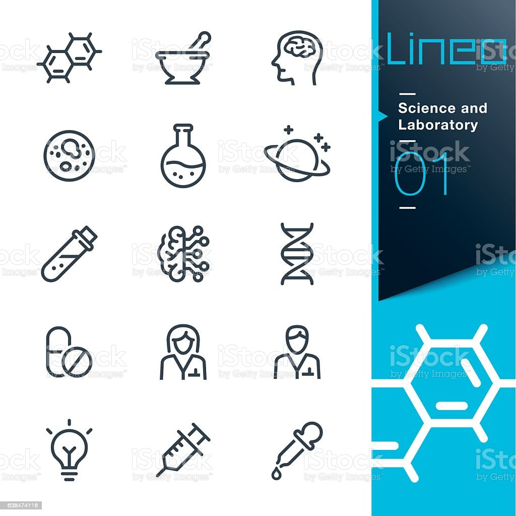 Lineo - Science and Laboratory line icons - ilustración de arte vectorial