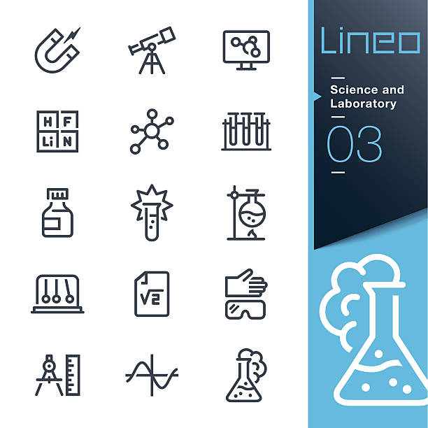 lineo - science and laboratory line icons - astronomy telescope stock illustrations