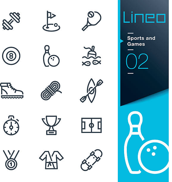lineo - sports and games line icons - kayaking stock illustrations, clip art, cartoons, & icons