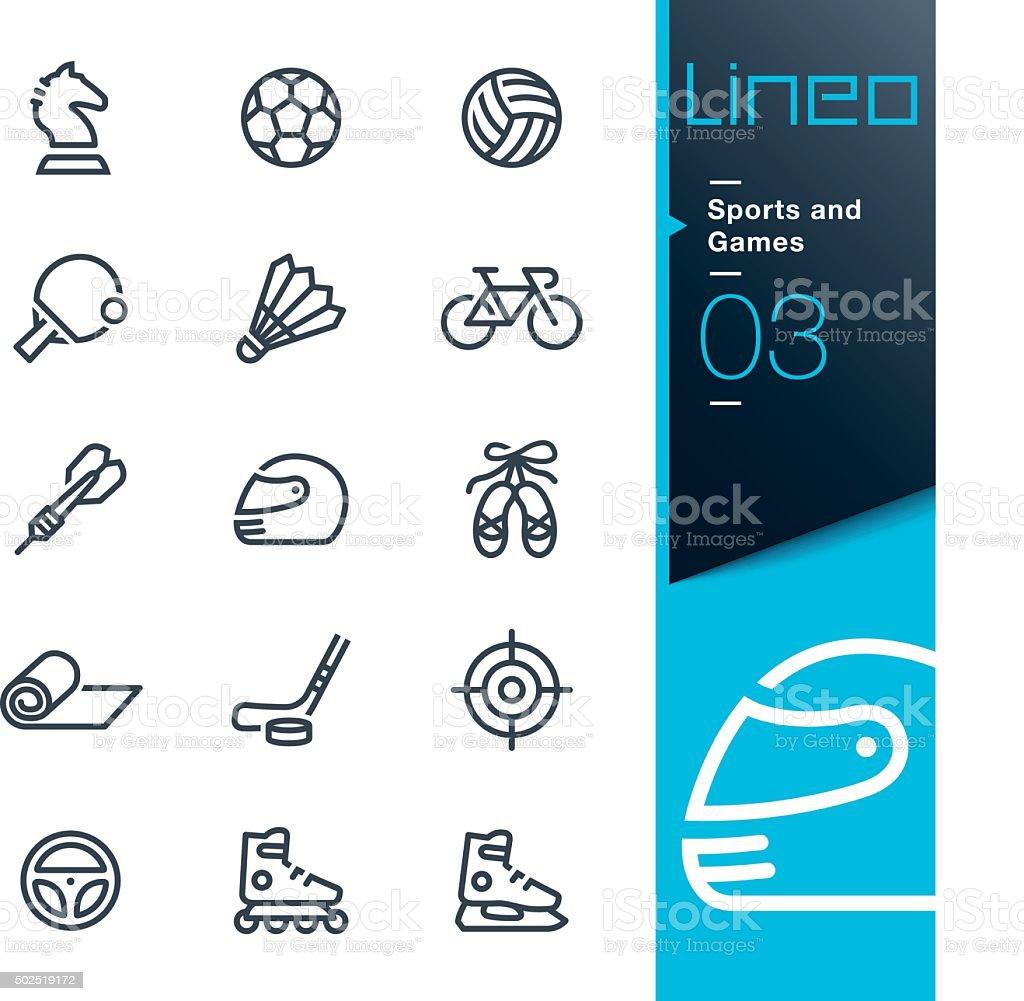 Lineo-Sports et jeux d'icônes de ligne - Illustration vectorielle