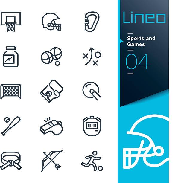 illustrazioni stock, clip art, cartoni animati e icone di tendenza di lineo-sport e giochi linea icone - fischietto