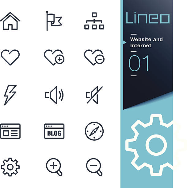 Lineo - Website and Internet outline icons Vector illustration, Each icon is easy to colorize and can be used at any size.  low scale magnification stock illustrations