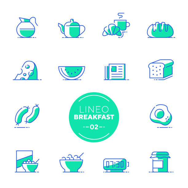 Lineo White - Breakfast and Morning line icons (editable stroke) Vector icons - Adjust stroke weight - Expand to any size - Change to any color bread icons stock illustrations