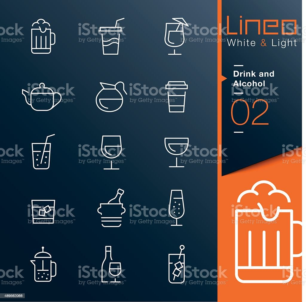 Lineo White & Light - Drink and Alcohol outline icons vector art illustration