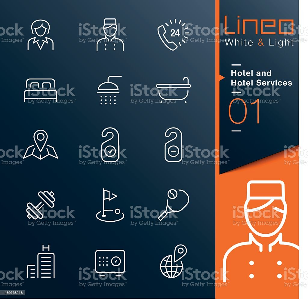 Lineo White & Light - Hotel and Hotel Services outline icons vector art illustration