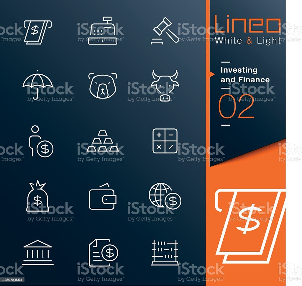 Lineo White & Light - Investing and Finance outline icons vector art illustration
