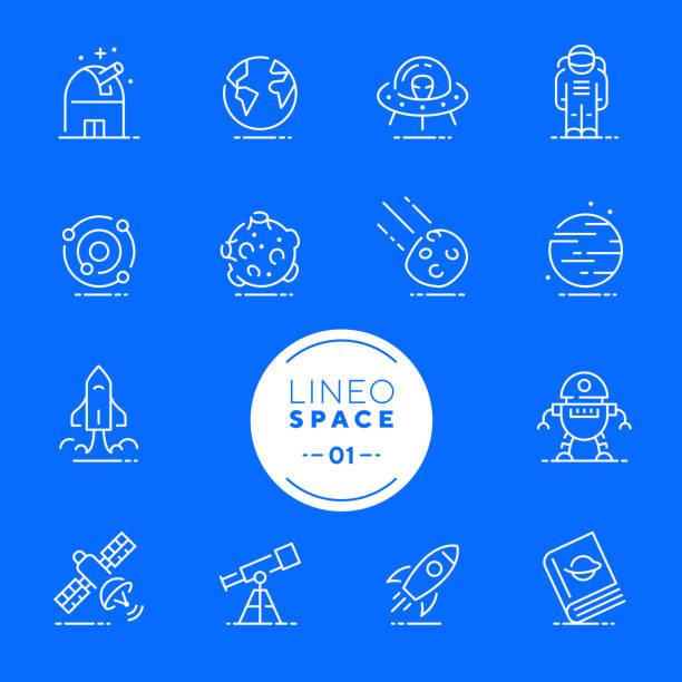 lineo white - space und planeten linie symbole (editierbare hub) - sternwarte stock-grafiken, -clipart, -cartoons und -symbole