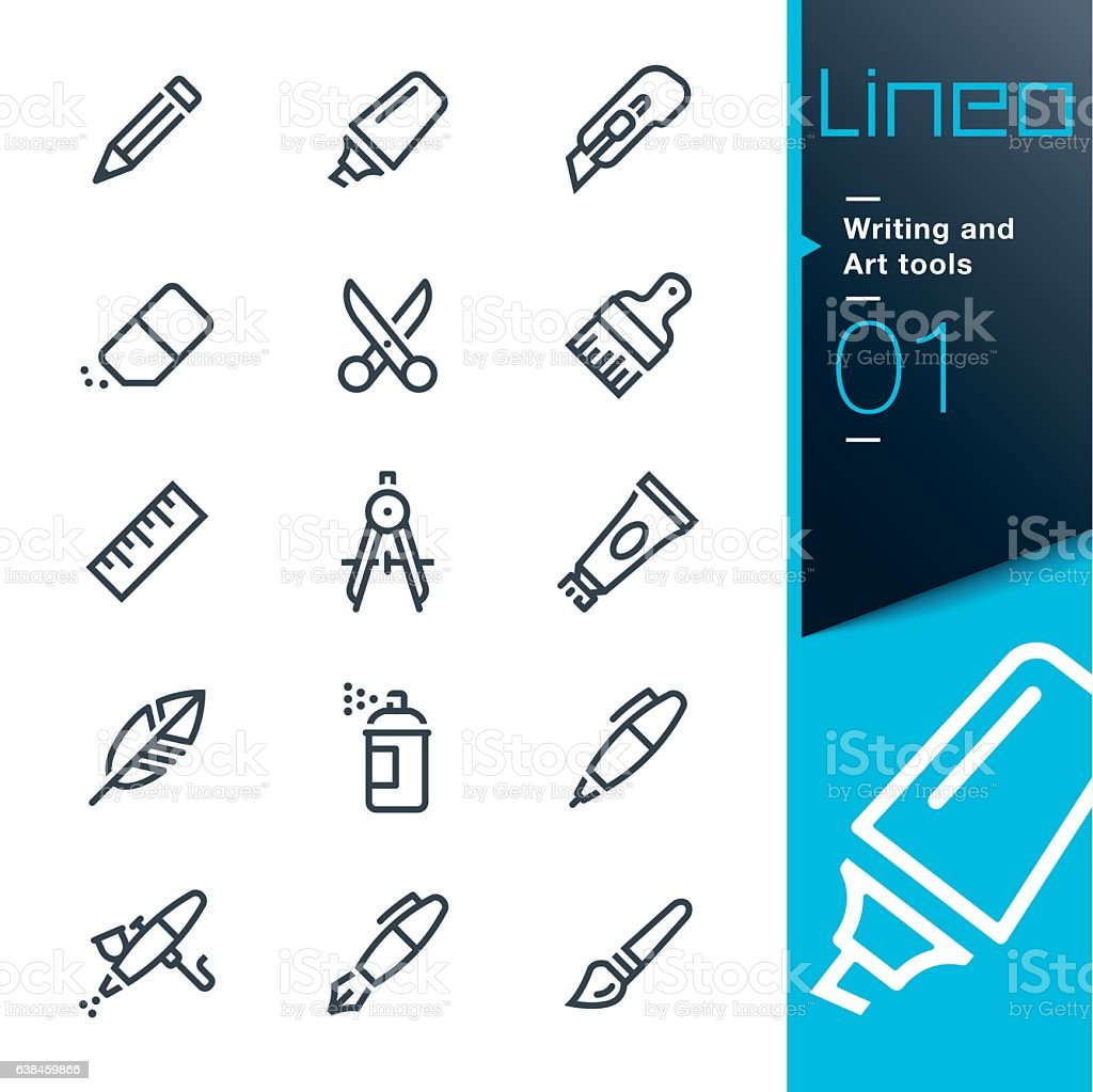 Lineo - Writing and Art tools line icons vector art illustration