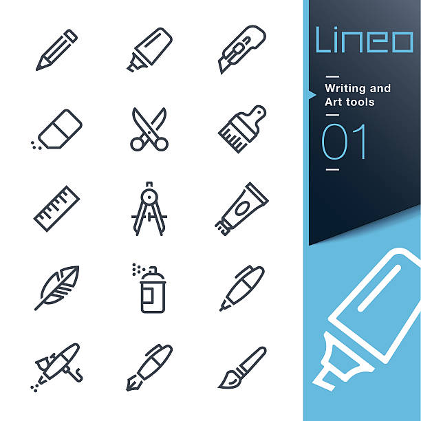 lineo - writing and art tools line icons - pióro wieczne stock illustrations