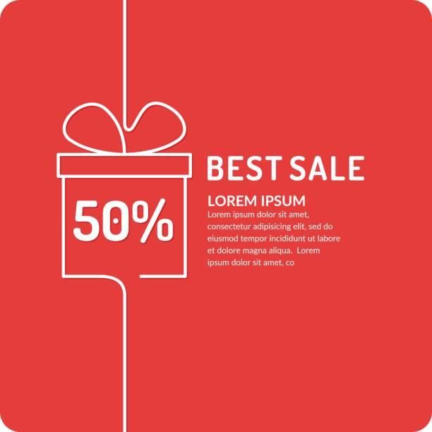 Liner sale banner Original concept poster discount sale. Sale banner. Vector illustration in liner style on red background black friday sale background stock illustrations