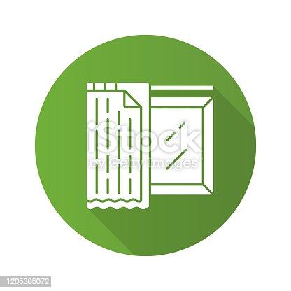 Liner tons plano design longo sombra glifos. Móveis de escritório. Design de interiores domésticos. Coberturas de janelas, tratamentos. Sala de estar escurecendo decoração. Forro de apagão. Ilustração da silhueta vetorial