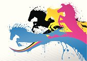 CMYK lines and horses