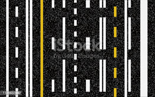 istock Lines and lane markings on the road 1125632392