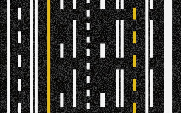 ilustraciones, imágenes clip art, dibujos animados e iconos de stock de las líneas y marcas de carril en la carretera - señalización vial