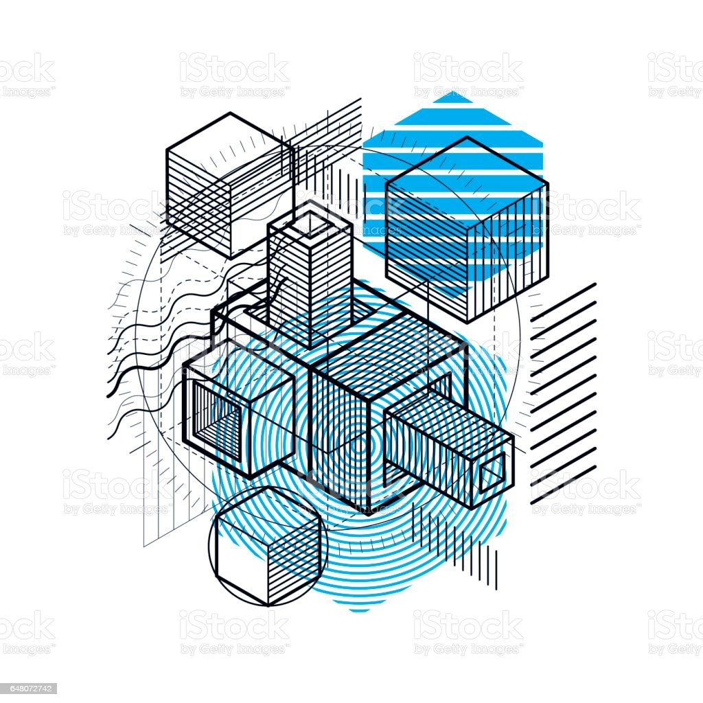 Lines And Shapes Abstract Vector Isometric 3d Background Layout Of