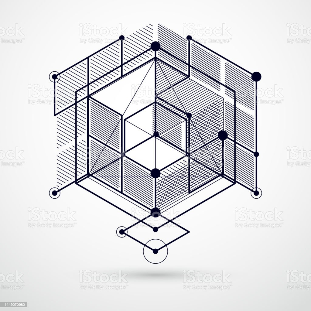 Lines and shapes abstract vector isometric 3D black and white...