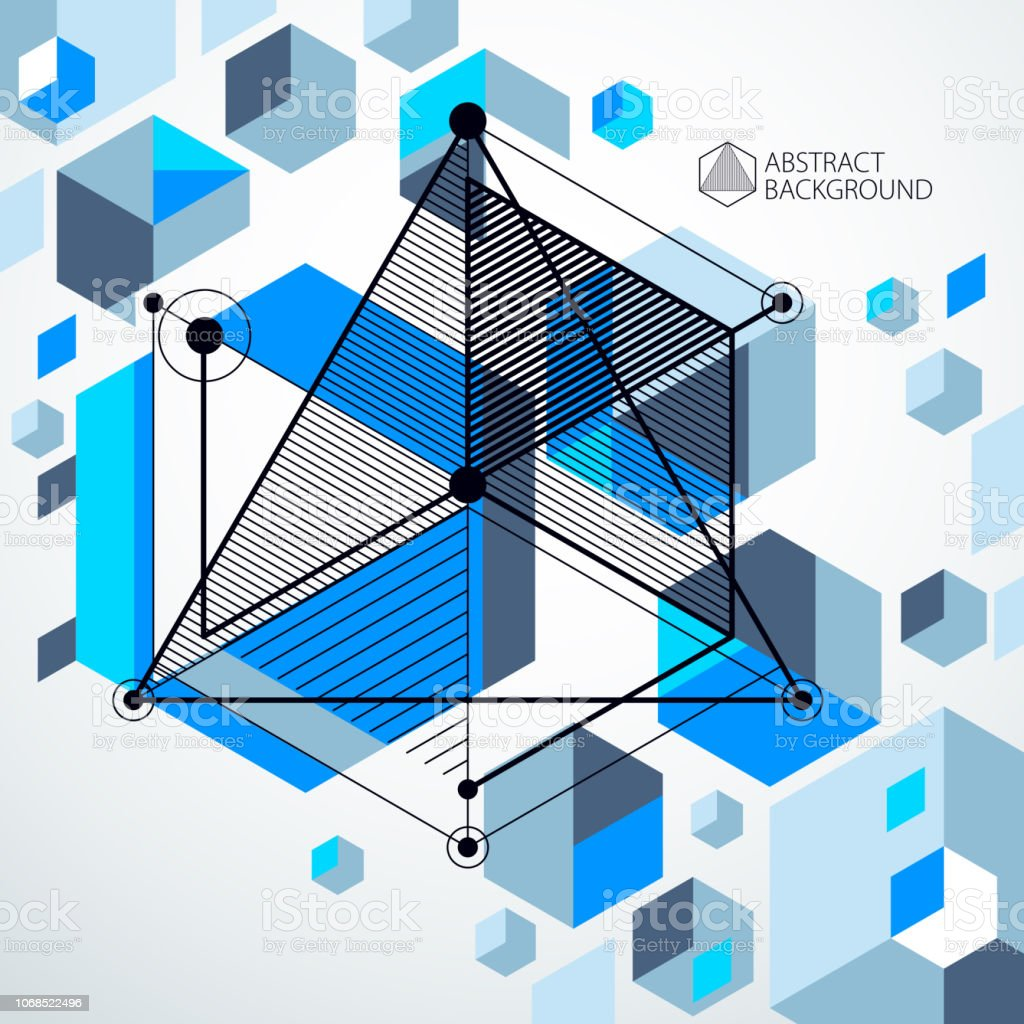 Lines and shapes abstract vector isometric 3D blue background....