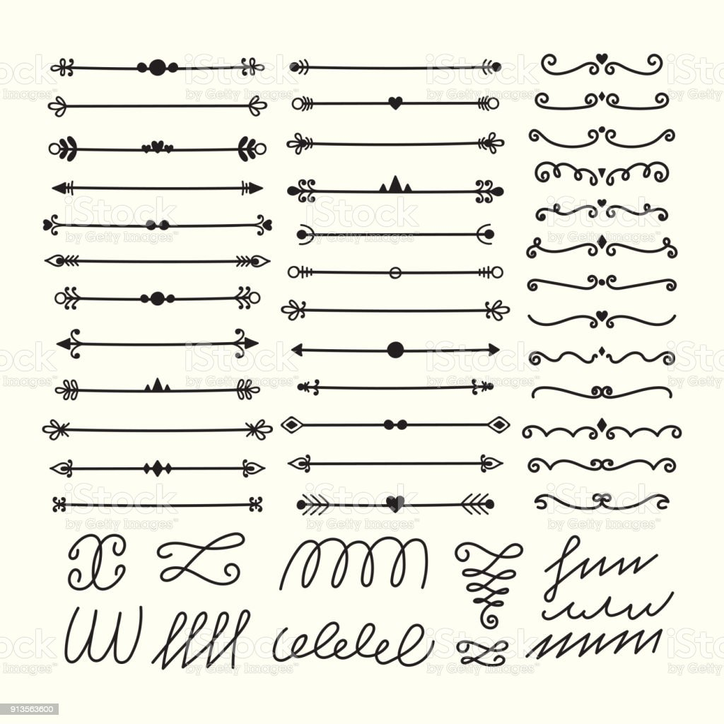 Lines Borders And Dividers Hand Drawn Calligraphic Design Elements