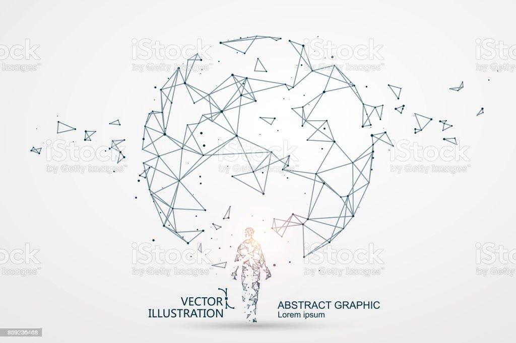Líneas conectadas a la escena de ciencia ficción, que simbolizan el significado de la inteligencia artificial. - ilustración de arte vectorial