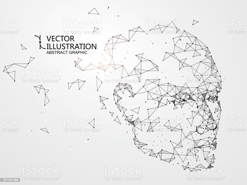 Lines connected to thinkers, symbolizing the meaning of artificial intelligence. vector art illustration