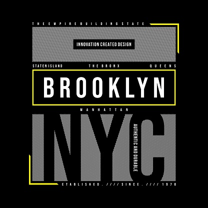 lines frame brooklyn typography design t-shirt graphic,vectors
