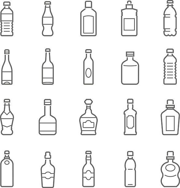 illustrazioni stock, clip art, cartoni animati e icone di tendenza di linee gruppo di icone-bottiglia e bevande - bottle soft drink
