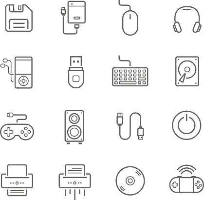 Lines icon set - devices accessory