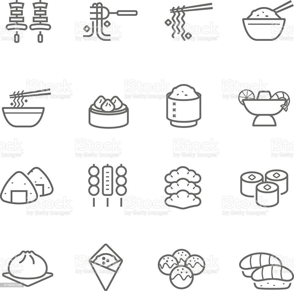 Lines icon set - Eastern food vector art illustration