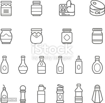 Lines icon set - ketchup on white background vector illustration