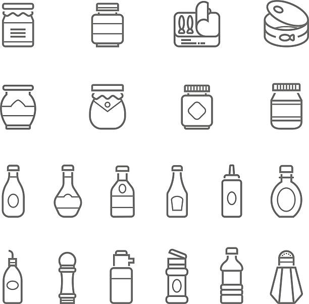 Lines icon set - ketchup Lines icon set - ketchup on white background vector illustration  ketchup stock illustrations